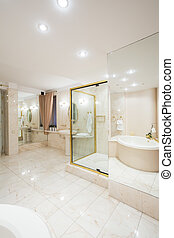 Bright illuminated washroom interior in luxury house