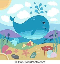 underwater life - Bright illustration of underwater life:...