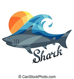 Bright illustration or print with shark for t-shirts