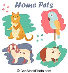 Bright images of domestic animals cat, parrot, dog and guinea. Can be used for pet shops, clinics, pet food advertising.