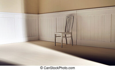 Bright interior with old chair against wall