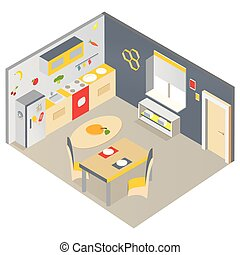 Bright isometric kitchen with furniture