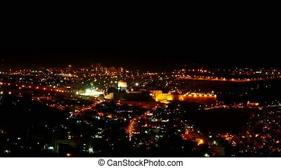 Bright Jerusalem city lights at night - Jerusalem old city...