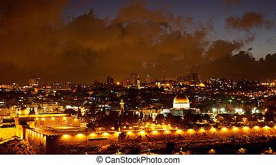 Bright Jerusalem old city lights over Al Aqsa