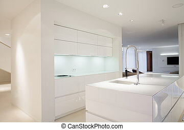 Bright kitchen interior with simple white cupboards