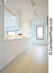 Bright kitchen with white furniture