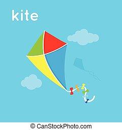 Bright kite in the sky.