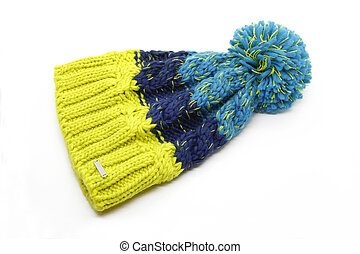 Bright knitted hat isolated on white background