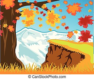 Bright landscape autumn and snow mountains. Vector illustration