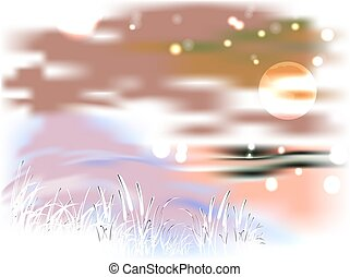 Bright landscape with lake and reeds in the light of the moon