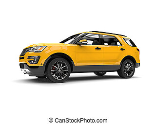 Bright lemon yellow modern SUV - low angle side view