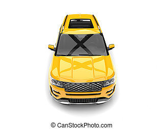 Bright lemon yellow modern SUV - top down front view