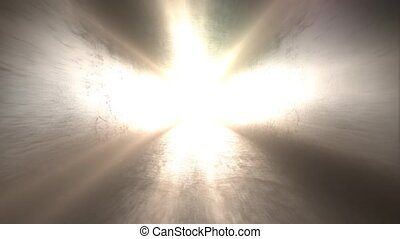 Bright light at the end of the tunnel. Walk into the light -...