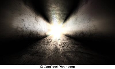 Bright light at the end of the tunnel. Fear in the dark corridor.