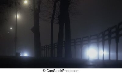 bright light from headlamps of cars shines through the fog...