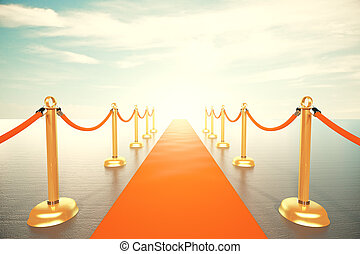 Bright light in the end of red carpet way