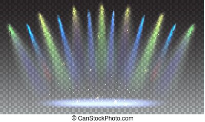 Bright lighting with coloring spotlights, projector. Background with rays of light from the colored spotlights. Shined scene, illumination 3D effects on transparent backdrop