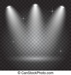 Bright lighting with spotlights, transparent effects on dark background