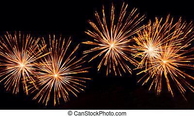 Bright lights of firework in dark night sky.