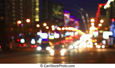 Bright lights of night traffic of the New Arbat avenue in...