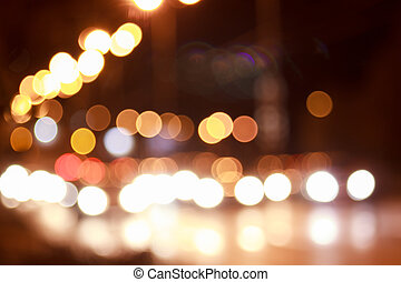 Bright lights of streets in night city.