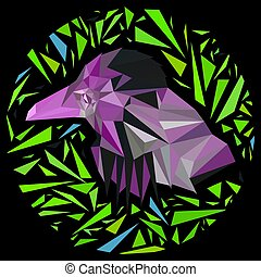 Bright lilac bird in a frame of green triangles in a circle.