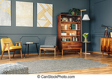 Bright living room - Brigh living room with retro bookcase,...