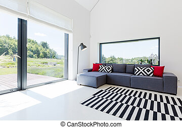Bright living room in modern house