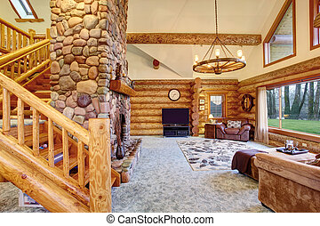 Bright Living room interior in American log cabin house....