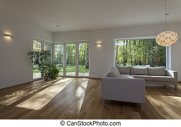 Spacious and contemporary living room, new house