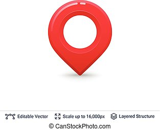 Bright location pin. - Vector symbol isolated on white. Easy...