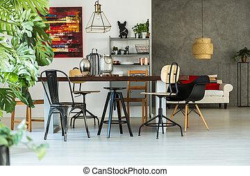Bright loft interior with table