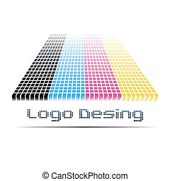 Bright logo with a mosaic effect