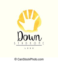 Bright logo with child hand for medical Down Syndrome center. Vector for event invitation, charitable fund or postcard for Autism Awareness Day - April 2
