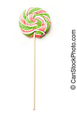 Bright lollipop candy on white background
