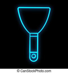 Bright luminous blue industrial digital neon sign for shop workshop service center beautiful shiny with a trowel for repair on a black background. Vector illustration