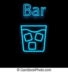 Bright luminous blue neon sign for cafe restaurant bar pub beautiful shiny with a glass of whiskey with ice on a black background. Vector illustration
