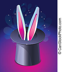 bright magic hat wit rabbit's ears - vector illustration