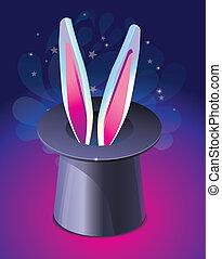 bright magic hat wit rabbit's ears - vector illustration
