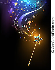 bright magic wand - magical golden wand with golden stars on...