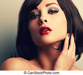 Bright makeup red lips woman with desire look and smokey ...