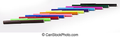 Bright markers on white - Group of bright color markers on...