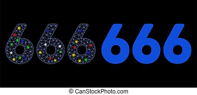 Bright Mesh 2D 666 Digits Text Icon with Flash Spots - ...