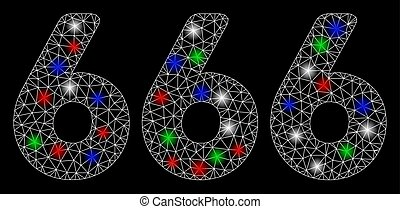 Bright Mesh 2D 666 Digits Text with Flash Spots - Bright ...