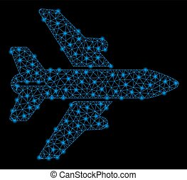 Bright Mesh 2D Airplane with Flash Spots
