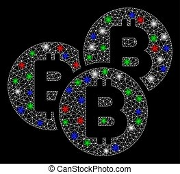 Bright Mesh 2D Bitcoin Coins with Flare Spots