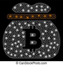Bright Mesh 2D Bitcoin Money Bag with Light Spots - Bright...