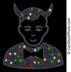 Bright mesh devil with lightspot effect. White wire carcass triangular mesh in vector format on a black background. Abstract 2d mesh built from triangular lines, spheric points, colorful glare spots.