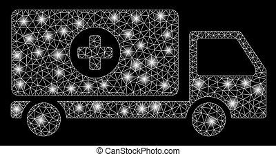 Bright Mesh 2D Mobile Hospital Automobile with Flare Spots