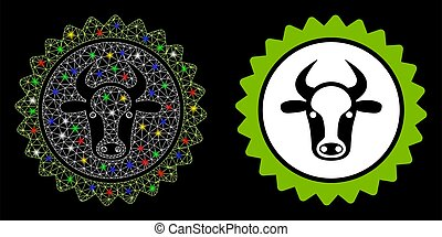 Bright Mesh Carcass Beef Certificate Seal Icon with Flare Spots